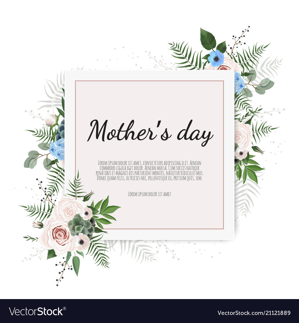 Mother s day greeting card with flowers background