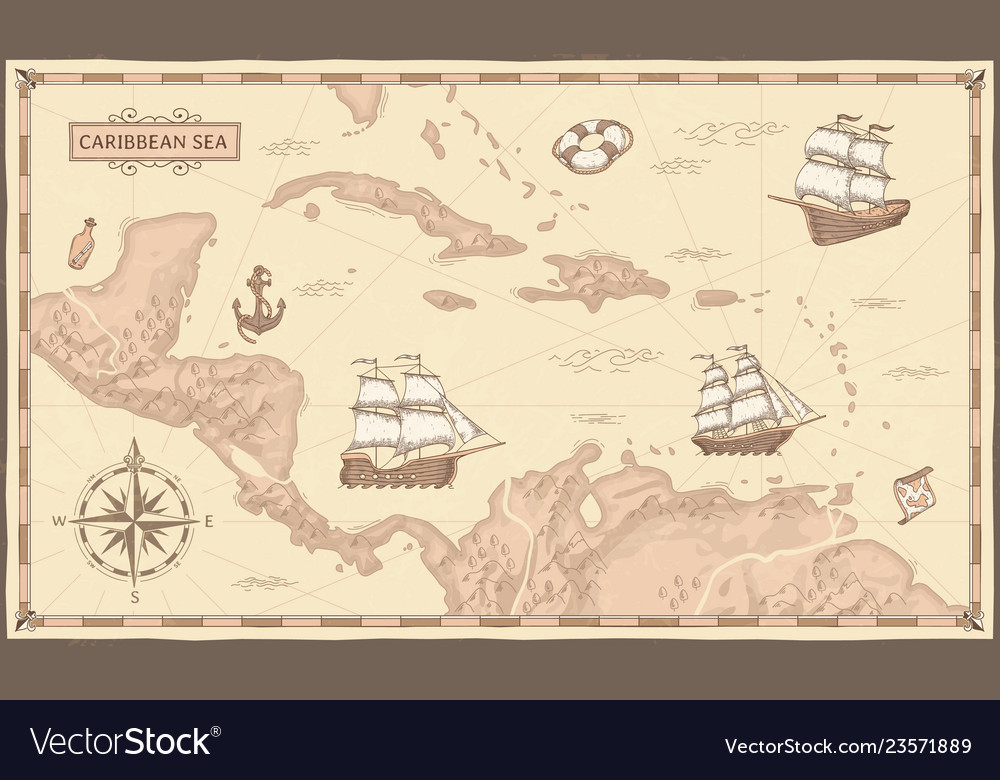 Old caribbean sea map ancient pirate routes