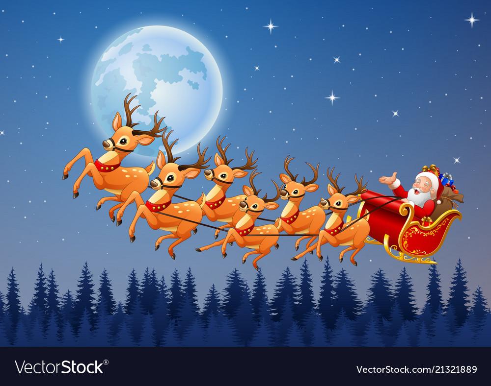Santa claus rides reindeer sleigh flying in the sk