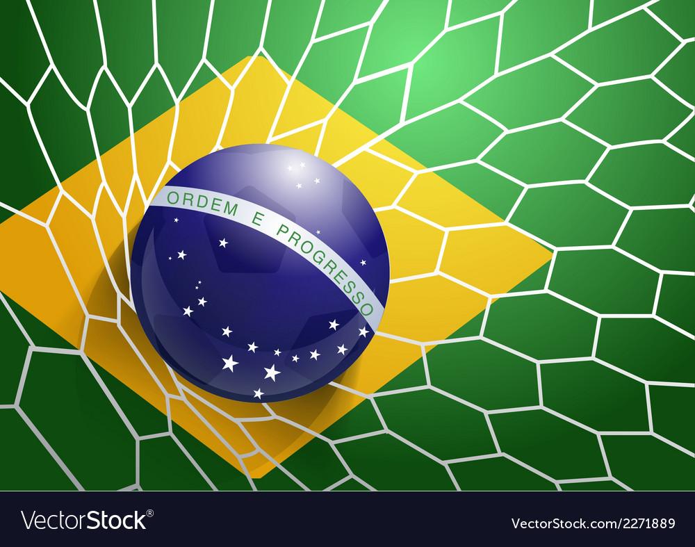 Soccer ball in net with brazil flag