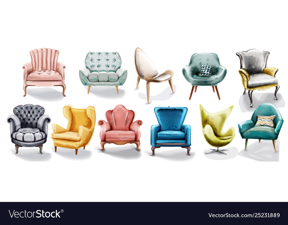 vintage retro armchair set collection vector