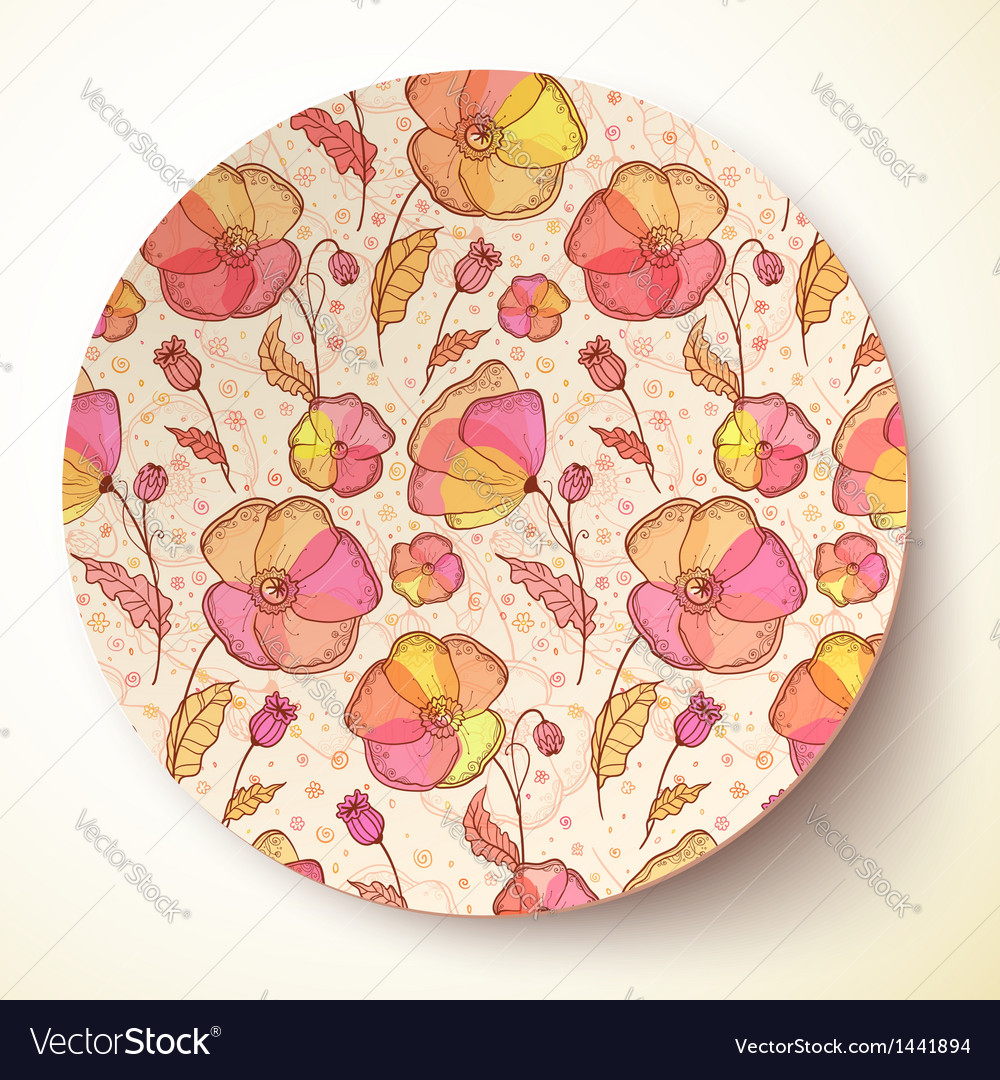 Bright colors flower pattern on plate