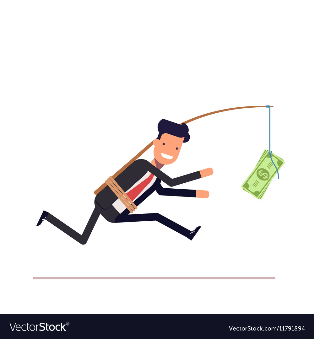 Businessman or manager is running after money vector image