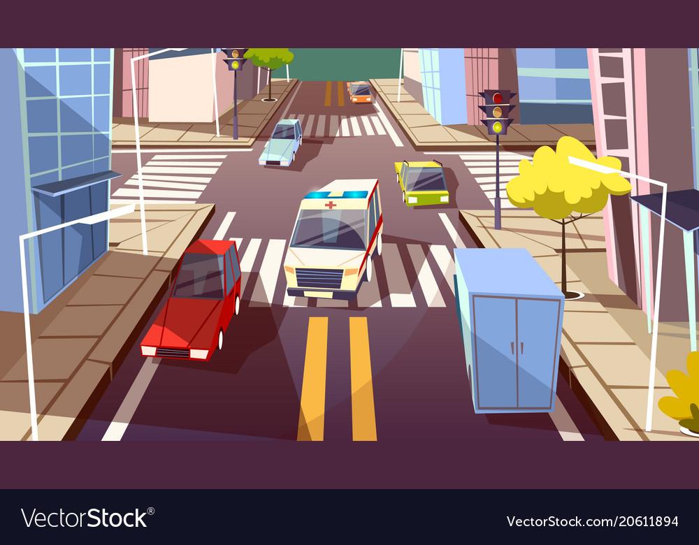 City street cars cartoon of