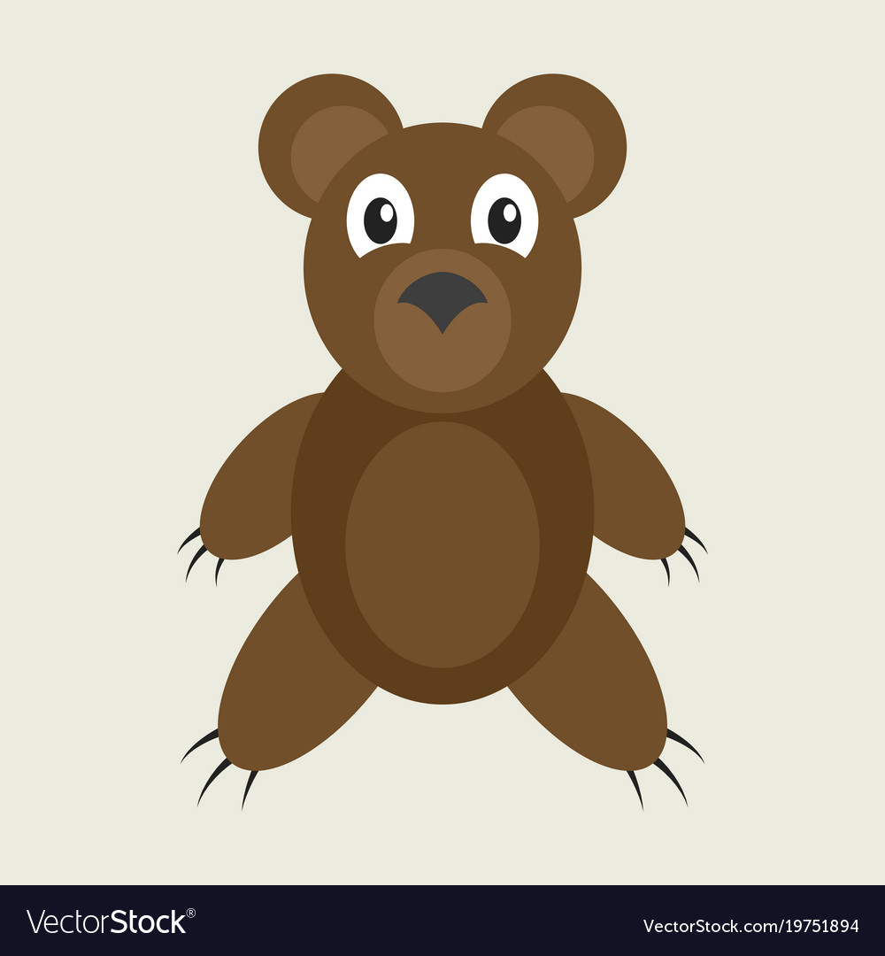 Icon in flat design toy bear vector image