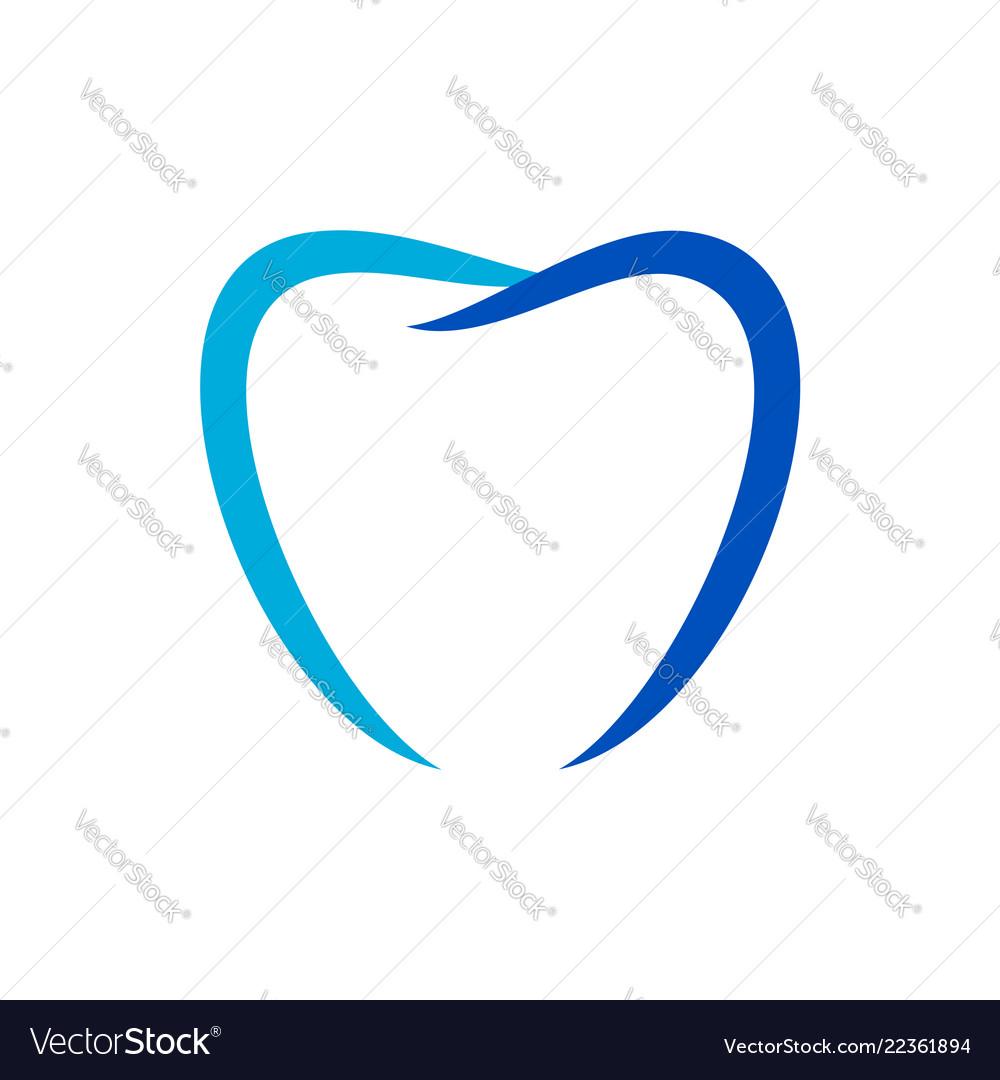 Love shape dental care blue symbol design