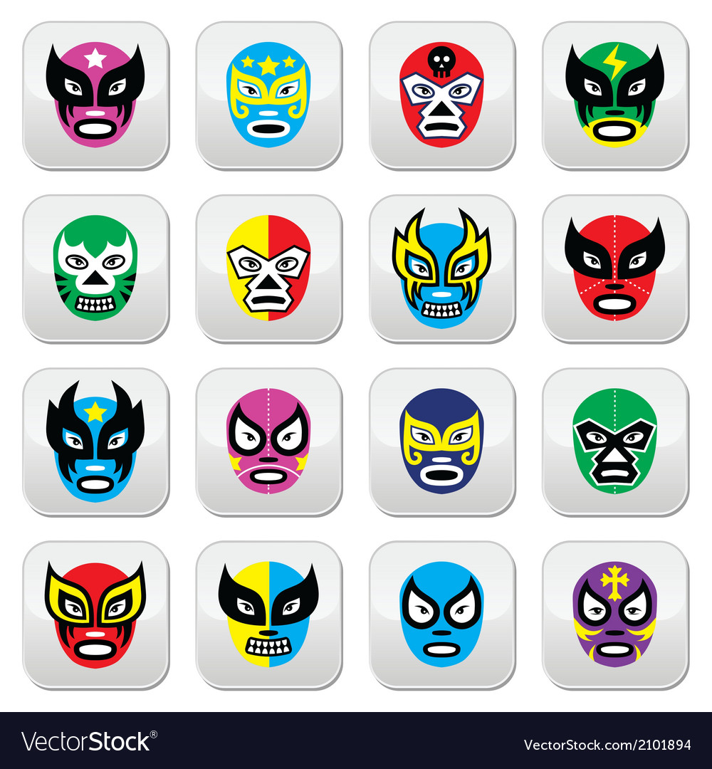 Lucha Libre Luchador Mexican wrestling masks icon vector image