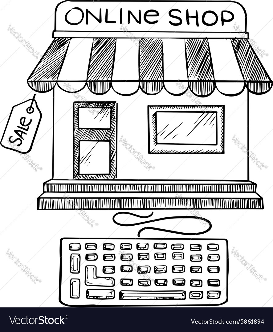Online shopping and store icon sketch vector image