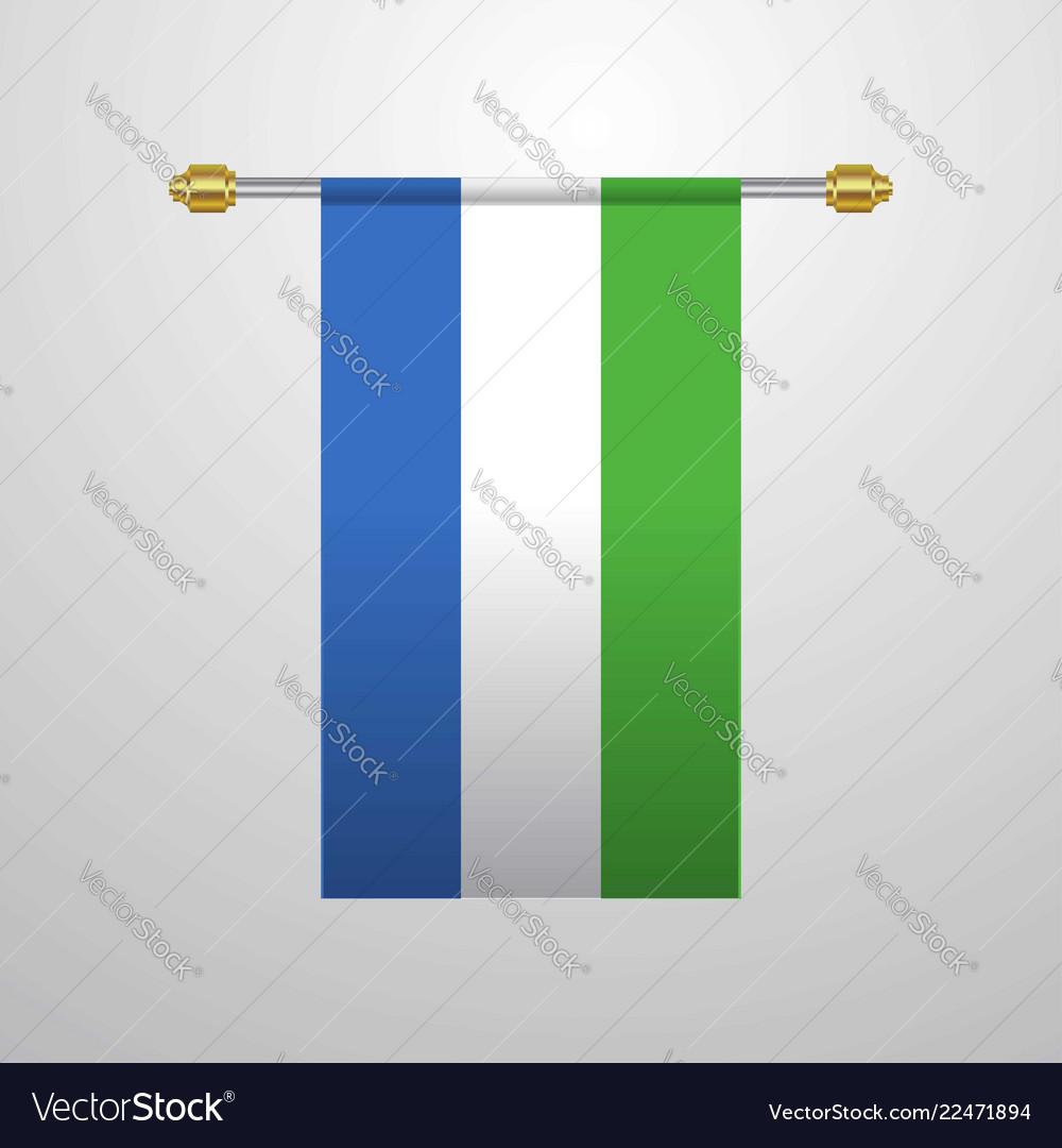 Sierra leone hanging flag