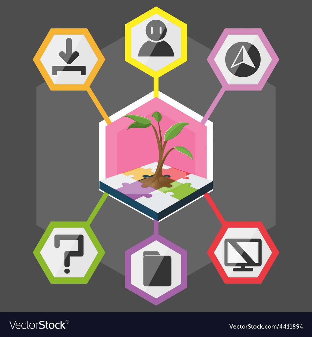 Tree Hexagon Modern Info Graphic Color full