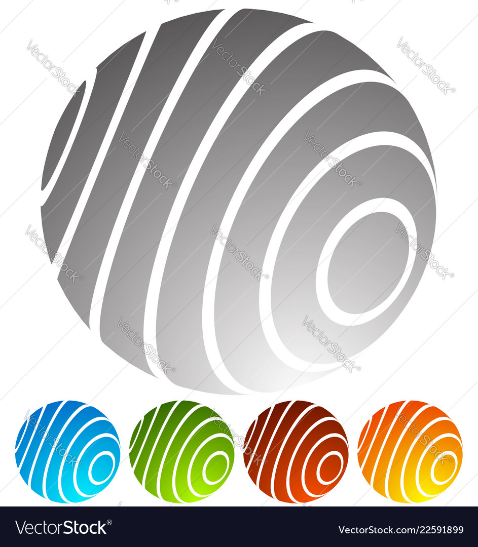 Abstract striped globe in perspective 5 colors