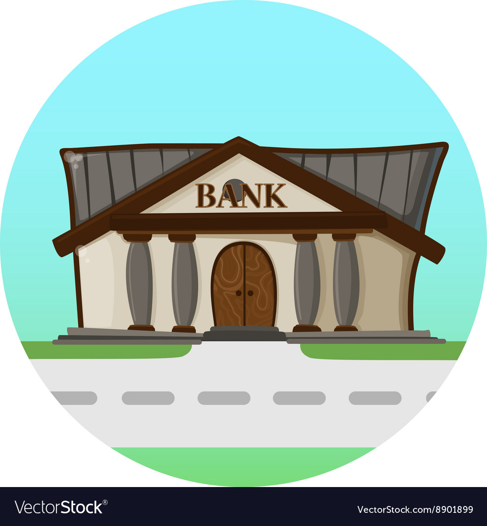 Bank building road flat syle background concept