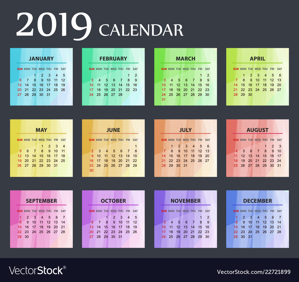 Bright modern calendar template for 2019 years