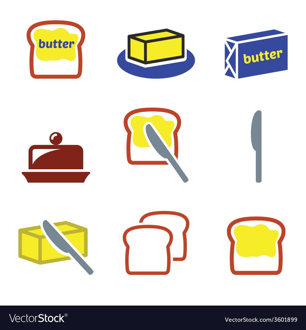 Butter or margarine icons set