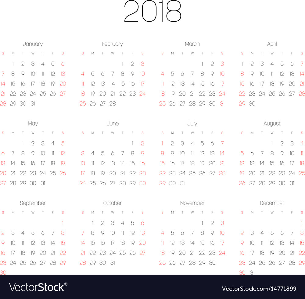 Calendar - year 2018 week starts from vector image