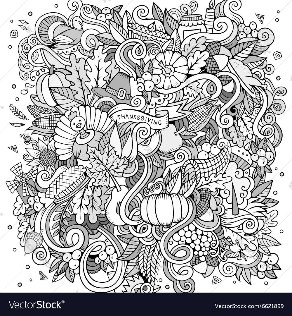 Cartoon hand drawn Doodle Thanksgiving