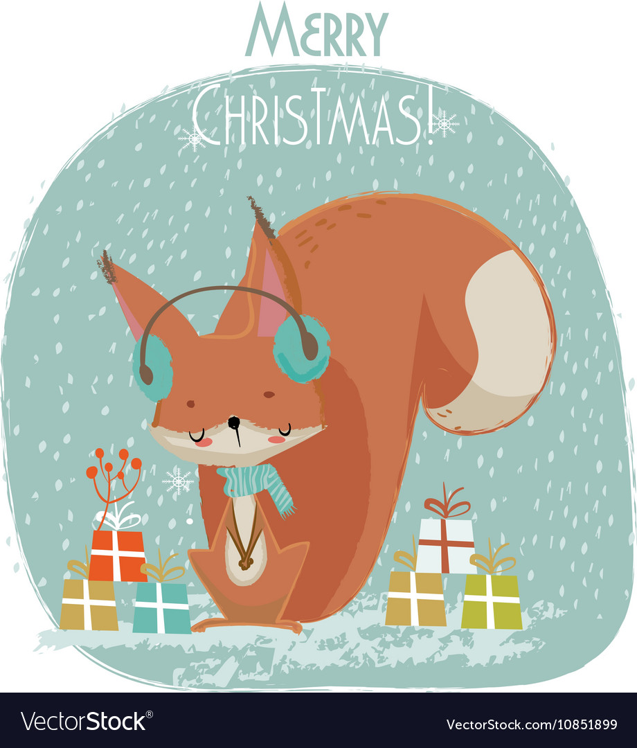 8aec511fb865d Cute Christmas squirrel cartoon Royalty Free Vector Image