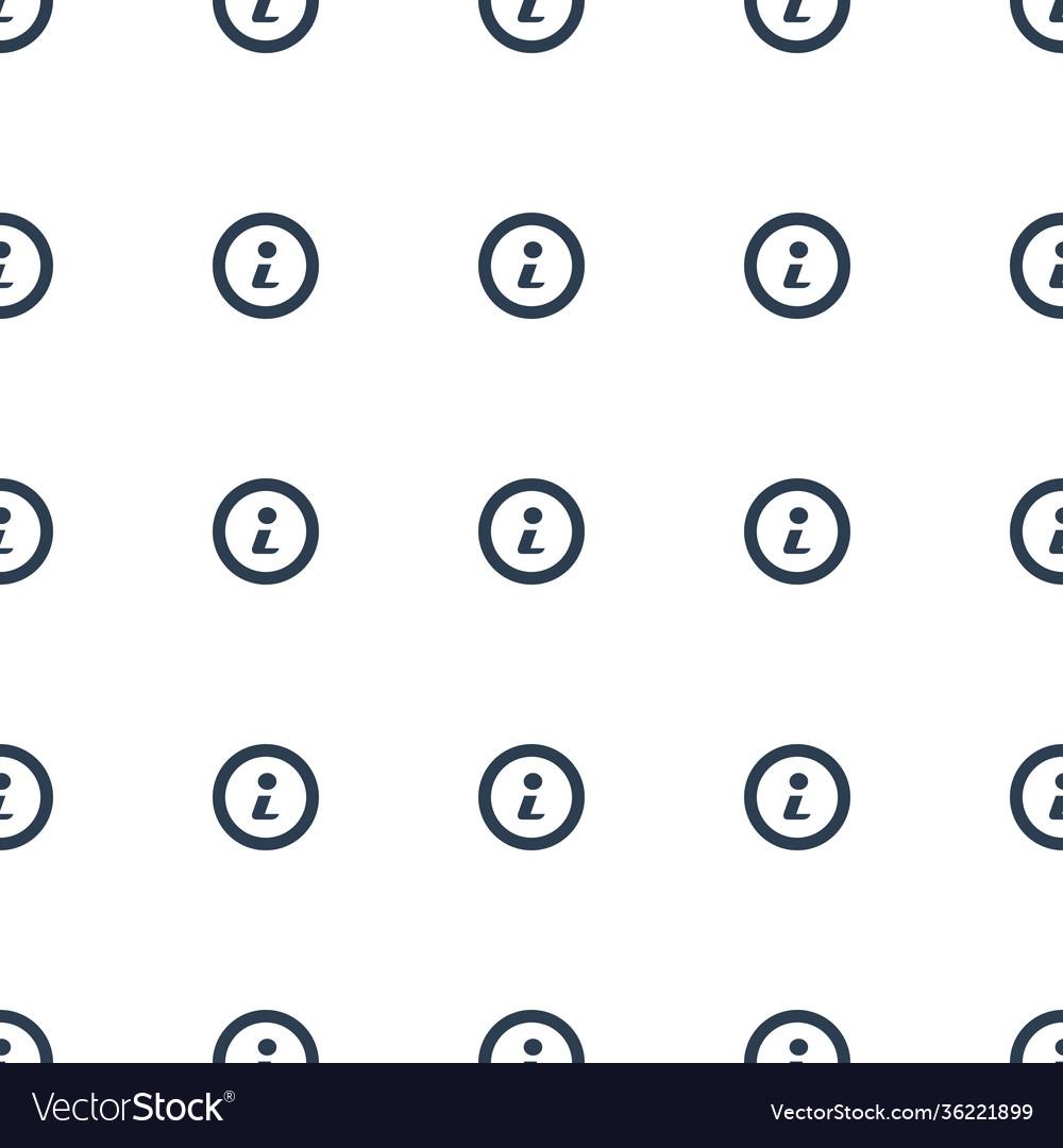 Info icon pattern seamless white background