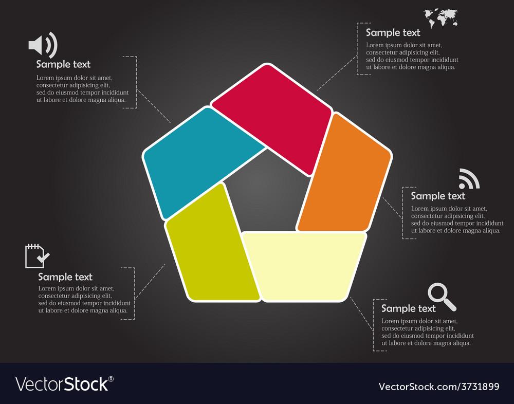 Pentagon infographic with round corners