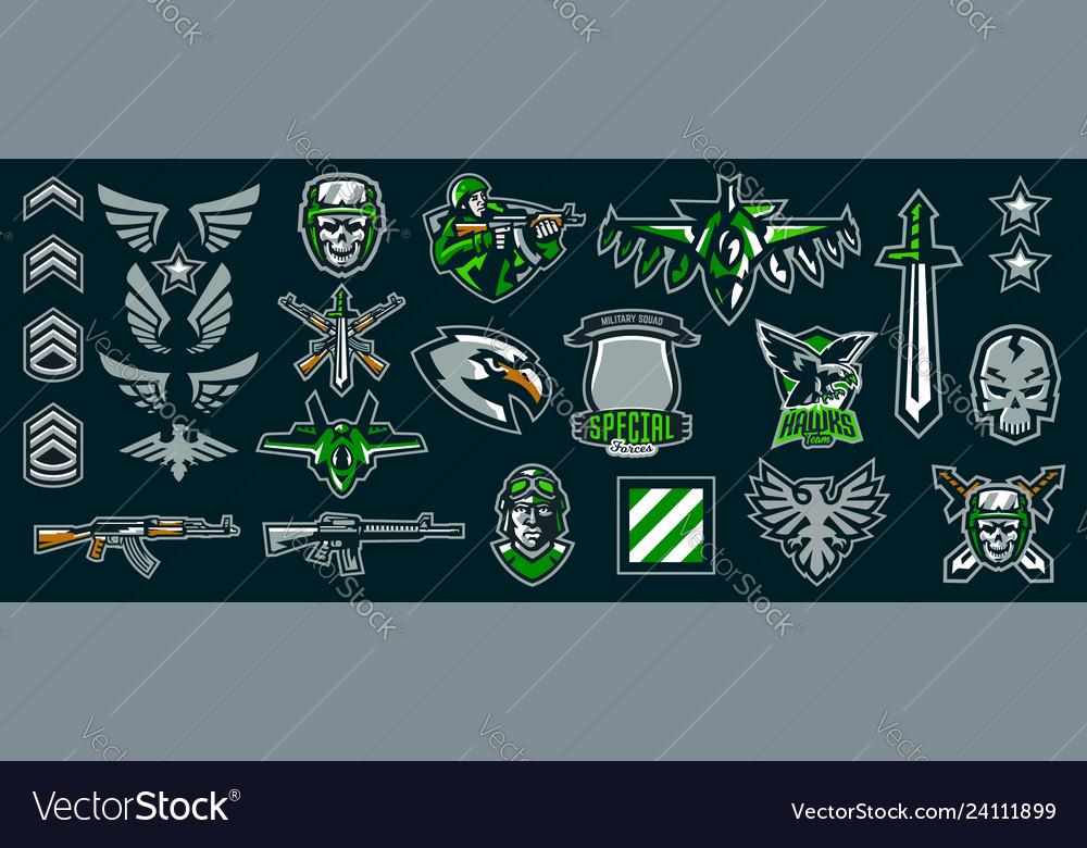 Set military emblems stripes and badges