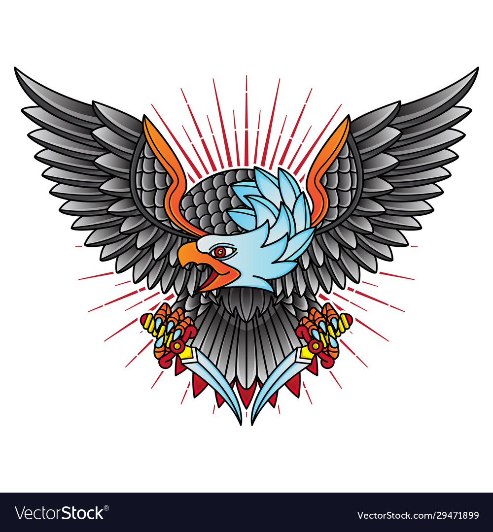 Traditional Eagle Flash Tattoo Royalty Free Vector Image