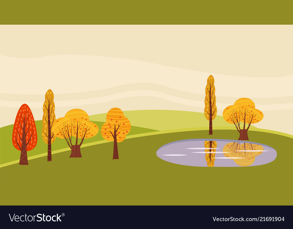 A countryside rural landscape lake utumn with