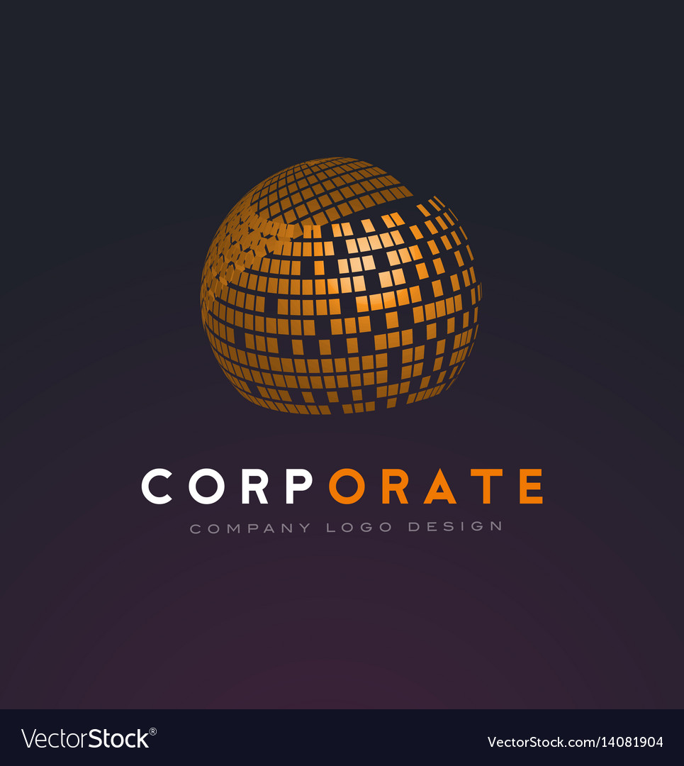 Corporate sphere logo with shattered squares vector image