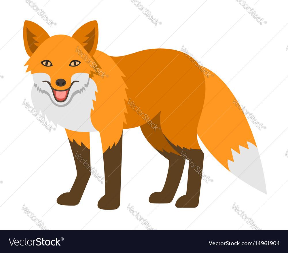 Cute smiling red fox cartoon