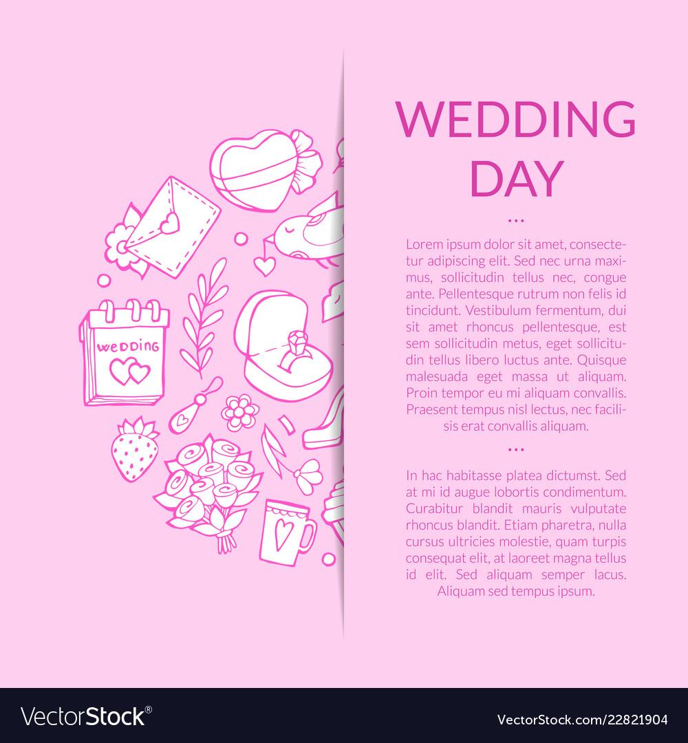Doodle wedding elements background
