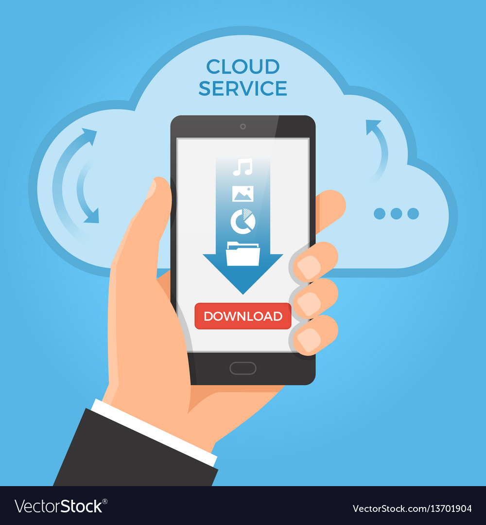 Downloading from cloud concept hand holding