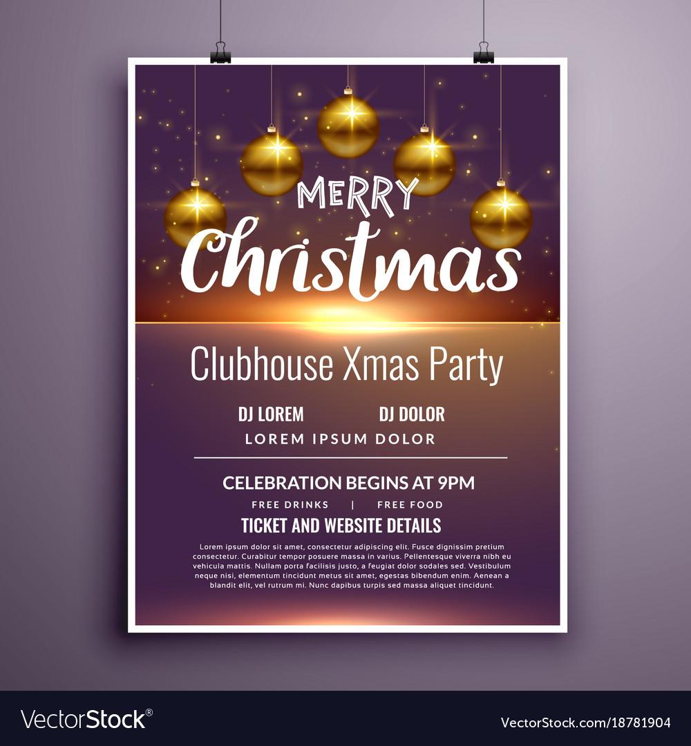Elegant merry christmas party flyer invitation