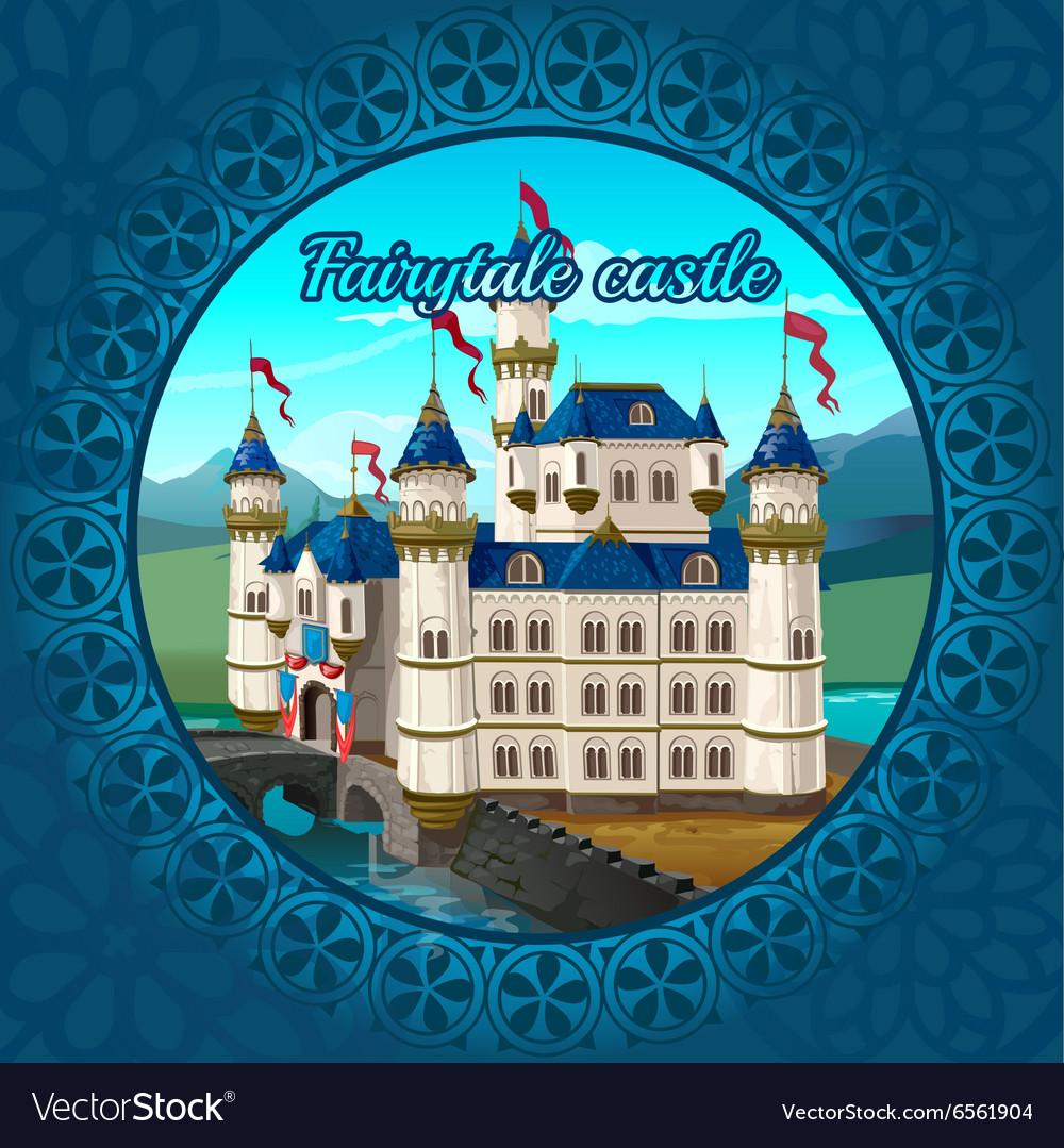 Fabulous medieval castle frame nature background