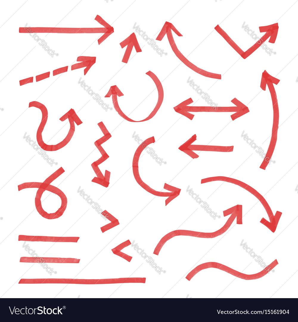 Hand drawn arrow set red vector image