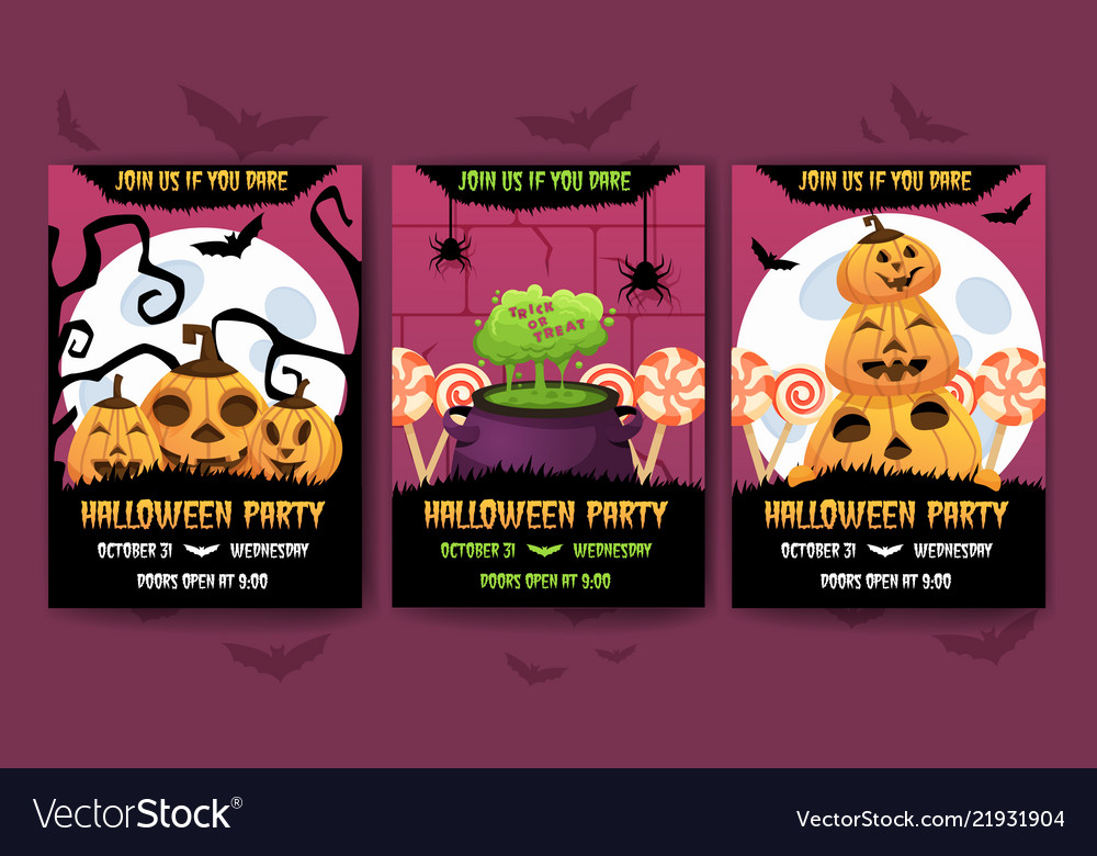 Happy halloween invitation posters