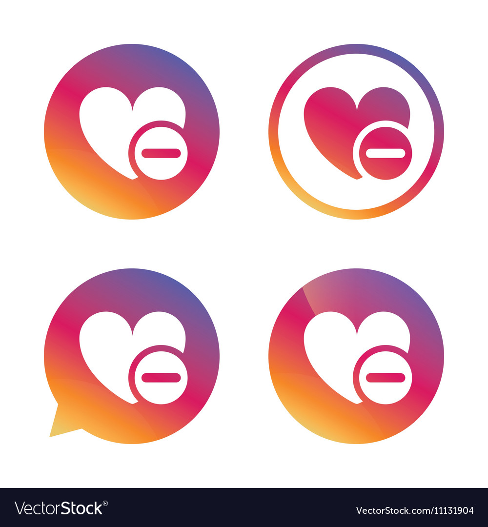 Heart Sign Icon Remove Lover Symbol Royalty Free Vector
