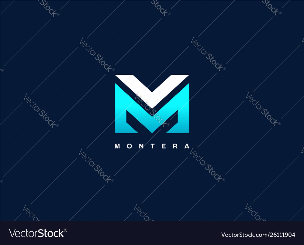 Modern letter type mv blue logo shape