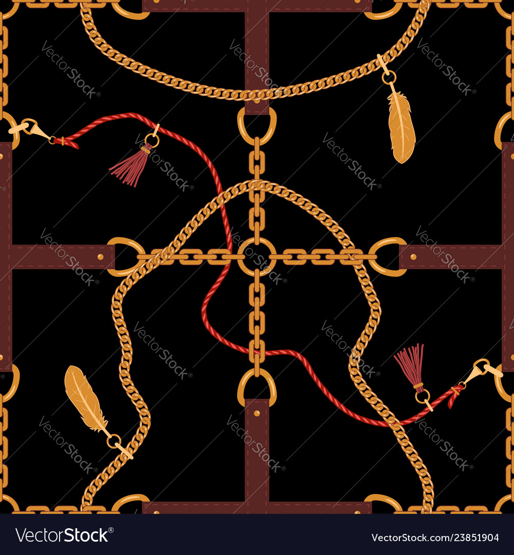 Seamless pattern with chains straps pendants and