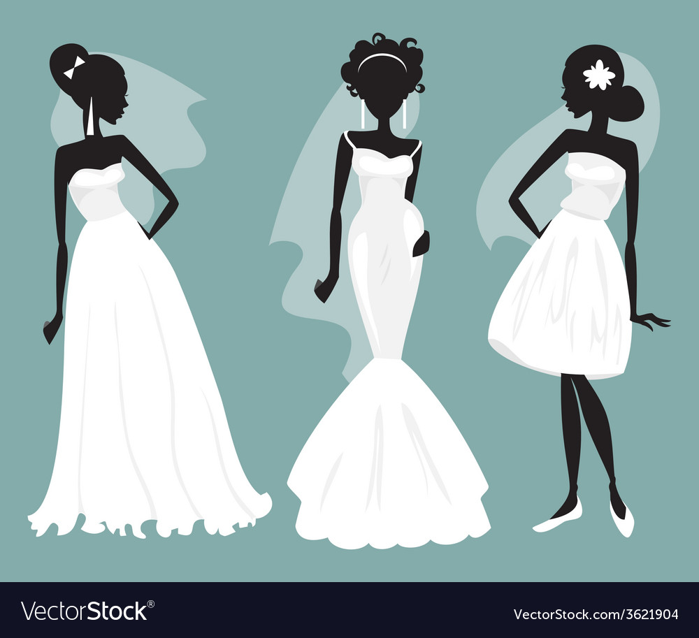 Set brides in various wedding dresses