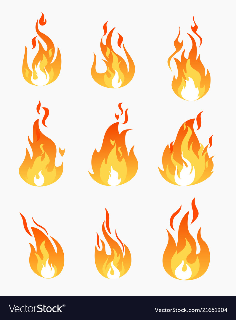 Set of fire flames icons on