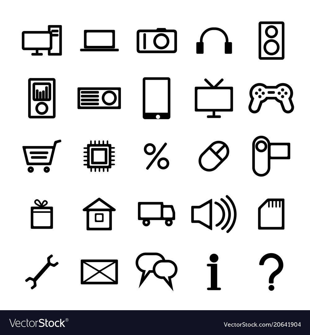 Set of icons computer and electronics vector image