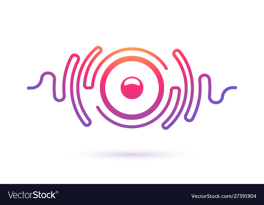Sound speaker and waves isolated icon