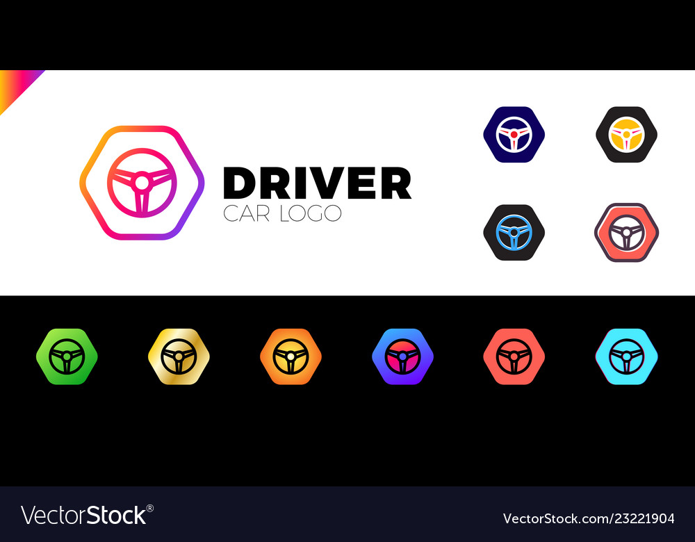 Steering wheel in hexagon icon logotype driver