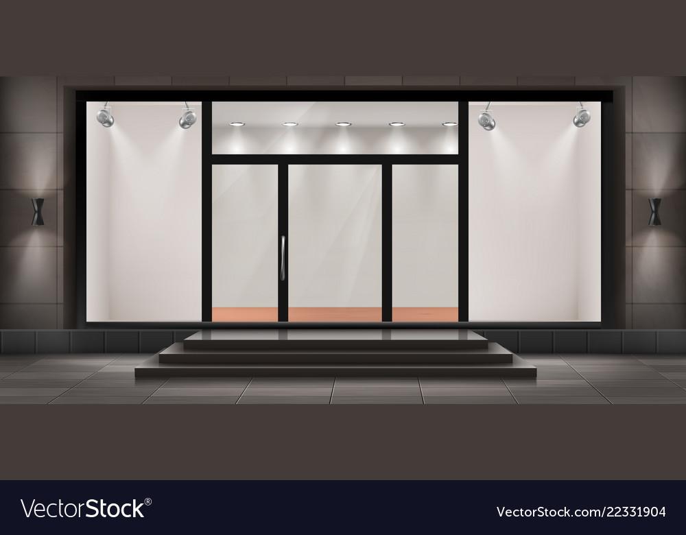 Surprising Storefront Empty Illuminated Showroom Vector Image Download Free Architecture Designs Scobabritishbridgeorg