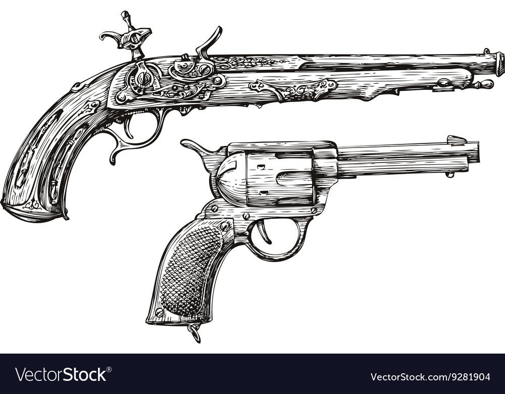 Vintage Gun Retro Pistol Musket Hand-drawn vector image
