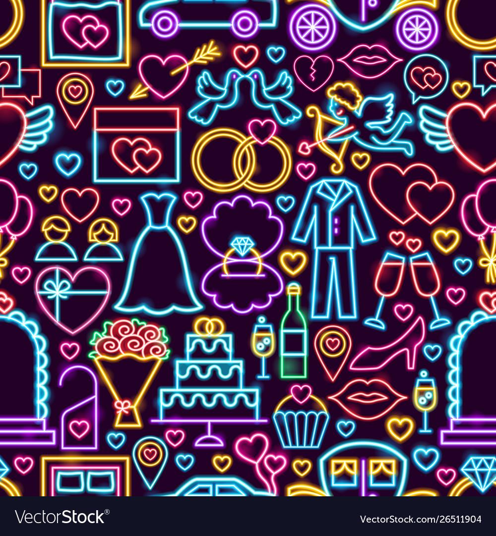 Wedding neon seamless pattern