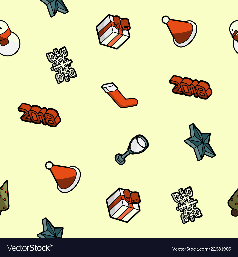 Christmas color outline isometric pattern