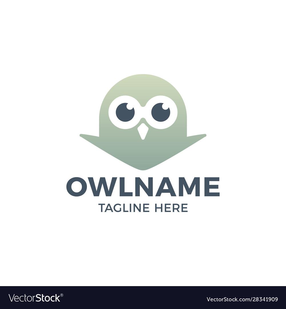 Cute owl head logo template icon design
