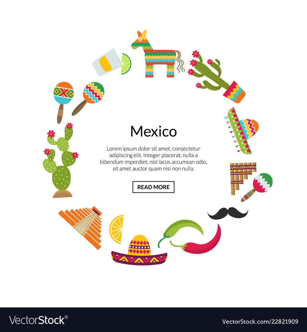 Flat mexico attributes in circle shape