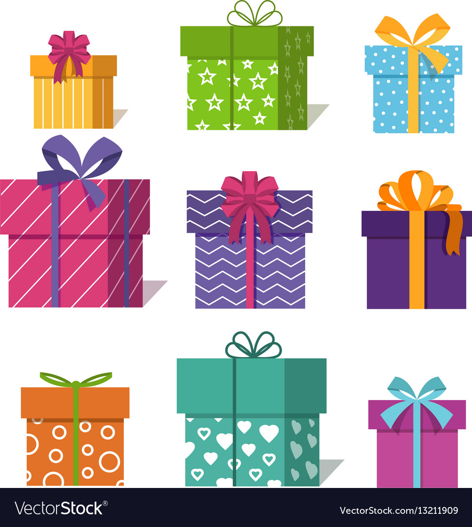 Gifts or presents boxes icons for valentine xmas