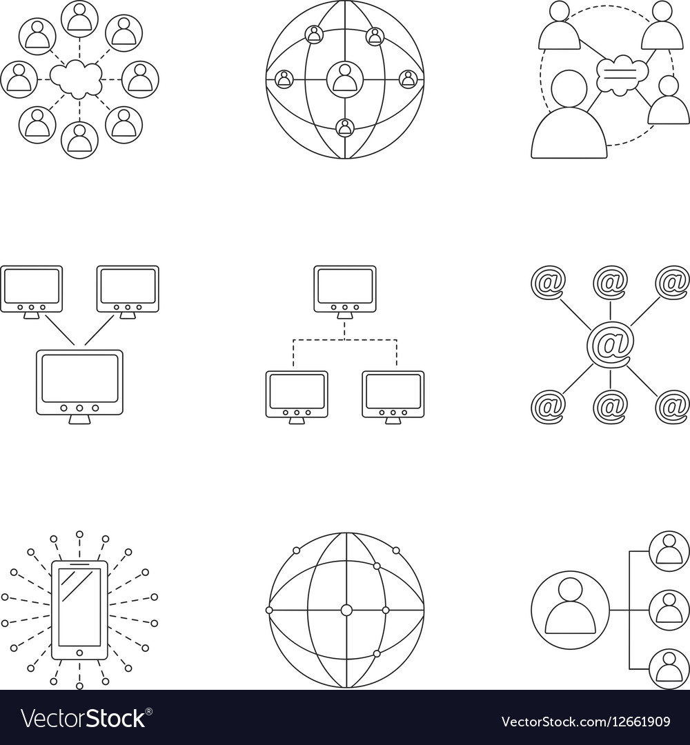 Global internet icons set outline style